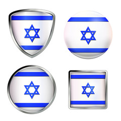israel flag icon set, metallic