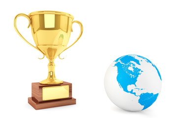 Gold cup with Globe