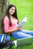 Hispanic college student studying