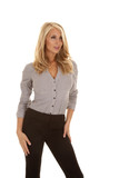 woman gray business look side