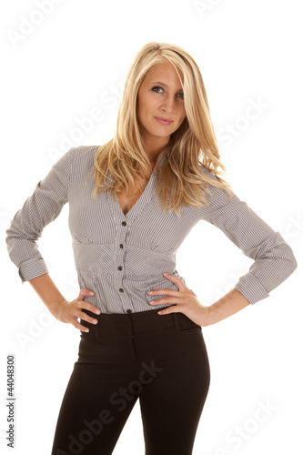 woman gray business two hands hip
