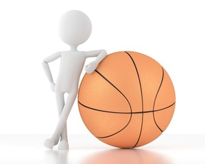 3d man stands and leans on a basketball.