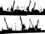 Set of two panoramas of silhouettes of port buildings