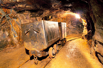 Cart in gold mine - underground