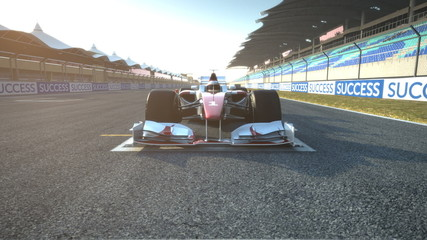 F1 race car at start position accelerating - high quality 3d ani
