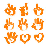 Orange brush strokes numerals-hands and heart