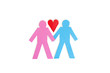 Two stick figures holding hands with a red paper heart over white background