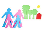 Conceptual image of paper cut out shapes representing a family with trees and house over white background