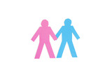 Paper cut out figures holding hands over white background