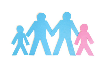 Paper cut outs representing a family of four over white background