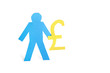 A blue stick figure holding pound sign over white background