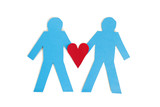 Two blue stick figures holding a red heart over white background