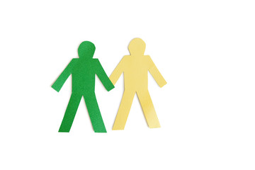 Two stick figures holding hands over white background