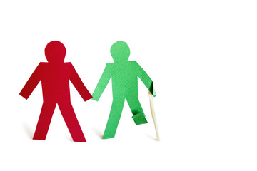 Two stick figures holding hands one with an injury over white background