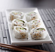 closeup of sushi california roll.