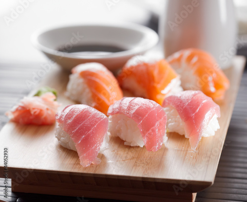 sushi platter with tuna and salmon nigiri