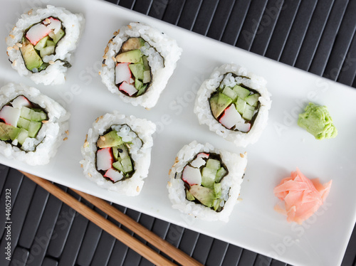 sushi - california rolls shot from overhead