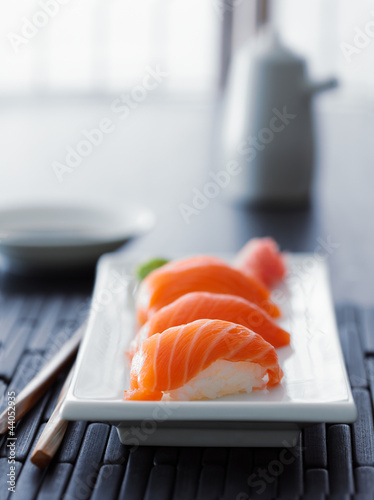 colorful salmon nigiri in asian setting