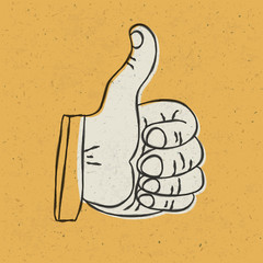Retro styled thumb up symbol on yellow textured background. Vect