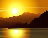 Wektorowy zachód słońca