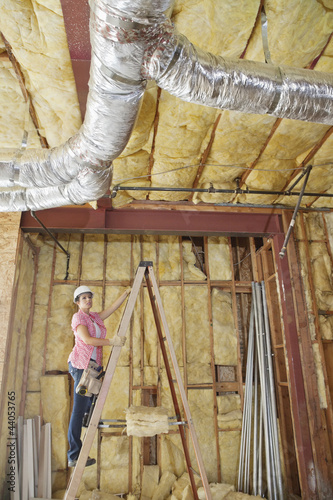 Female architect moving up the ladder to check incomplete ceiling