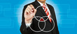 Businessman drawing intersected circle diagram and shadow the in
