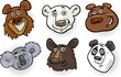 Cartoon bears heads set