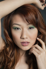 Portrait of sexy young Chinese woman with eye shadow