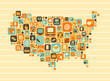 USA Map with a set of social and media icons
