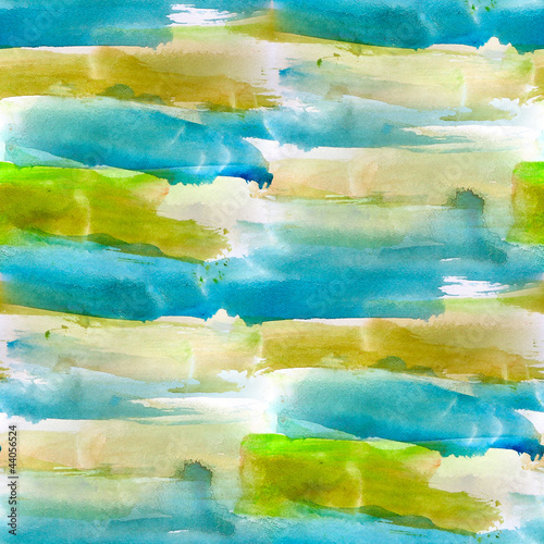 abstract watercolor green, blue seamless texture hand painted ba