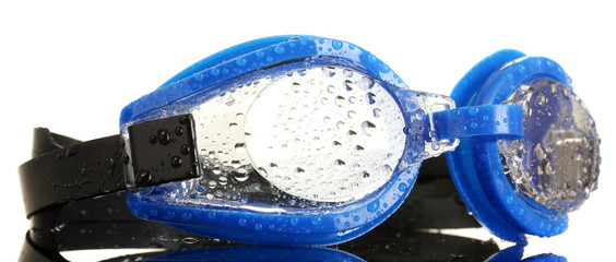 blue swim goggles with drops isolated on white.