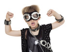 Portrait of punk kid wearing pilot goggles with raised fist over white background