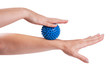 Woman hands with massage ball