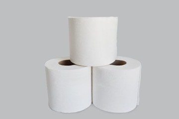Close-up view of toilet paper stack on white background
