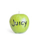 Close-up of orthographic text on a juicy granny smith apple over white background
