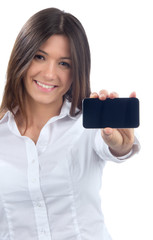 Woman Showing display of her new touch mobile cell phon