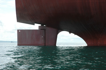 the rear wheel of a large tanker