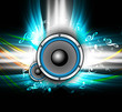 abstract Speakers bright background colorful wave music notes ve