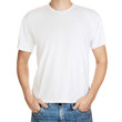 White t-shirt on a young man template isolated on white backgrou