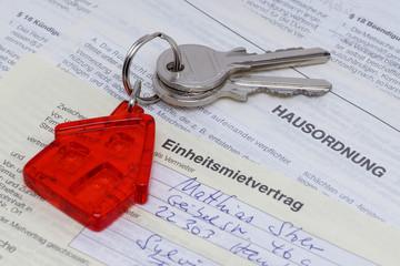 Mietvertrag mit Schlüsseln