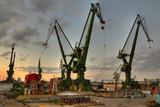 Gdansk shipyard cranes at summer evening