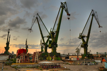 Gdansk shipyard cranes at summer evening