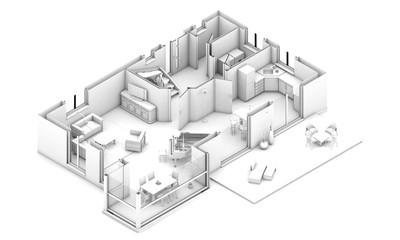 3d grundriss perspektive in weiß