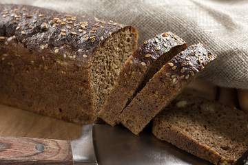 Black bread with sesame seeds