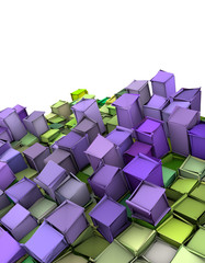 abstract 3d shape backdrop in green and purple