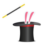 Magic hat with rabbit and wand. Vector illustration
