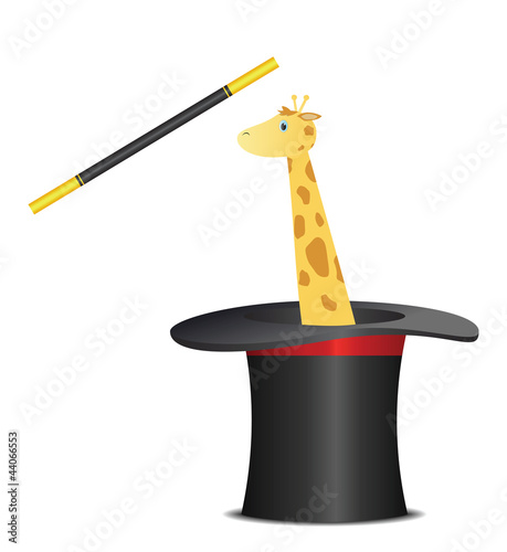 Magic hat with giraffe and wand