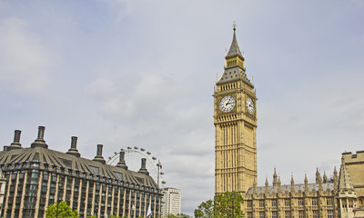 Panoramic view of London with the Big Ben and the London Eye