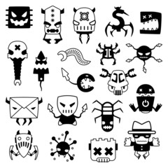 set of cartoon computer viruses silhouettes