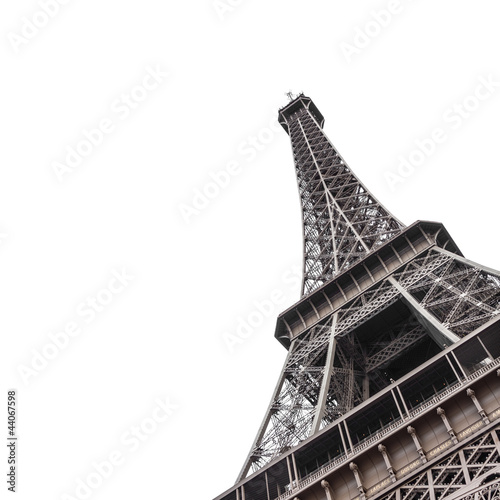 Foto op Canvas Aan het plafond Eiffel Tower from bottom isolated on white background